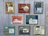 8 Handmade Men's Birthday greeting cards envelopes Stampin' Up! +more