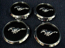 FORD MUSTANG 13-14 BUTTON CENTER CAPS - SET OF 4 - BLACK WITH THE MUSTANG EMBLEM