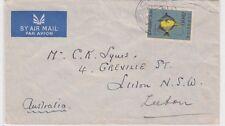 Stamp Mozambique $8 fish on plain cover sent 1956 to Leeton NSW Australia