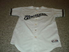 Milwaukee Brewers Prince Fielder button up white replica jersey #28 youth large