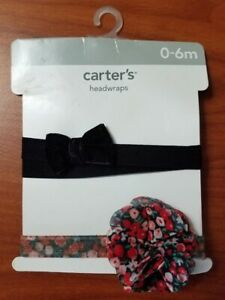 NEW CARTERS BABY GIRLS 2-PACK HEADWRAPS HEAD BANDS WRAPS FLORAL BLACK BOW 0-6M