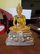 Tozai Home Buddha Yellow Acrylic Gold Figurine Zen Monk Meditating Hand Crafted