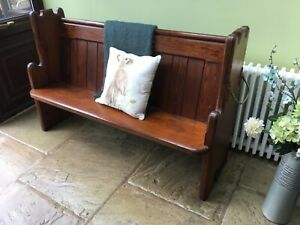 Antique church Pew monks bench hall seat settle with umbrella stick holder