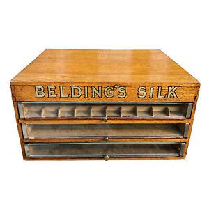 Antique Beldings Silk Quartersawn Oak Glass Front Spool Chest Cabinet