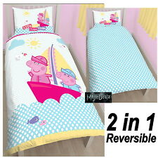 PEPPA PIG & GEORGE 'NAUTICAL' SINGLE DUVET COVER SET NEW 2 in 1 REVERSIBLE