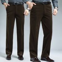 Men Fleece Corduroy Trousers Padded Stretch Straight Pants Retro High Waist Long