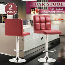 2Pc Bar Stools Pu Leather Adjustable Swivel Barstools Hydraulic Pub Chair Red