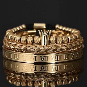 Luxury Roman Royal Crown Stainless Steel Charm Bracelet for Men Jewelry