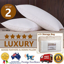 2x Goose Down Feather Pillows 5 Star Home Hotel Luxury Bedding 100 Cotton Cover