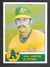 RICK LANGFORD 1981 GRANNY GOOSE #22 OAKLAND ATHLETICS FREE COMBINED S/H