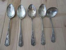 ONEIDA COMMUNITY LOUIS XVI FOUR TABLESPOONS & 1 LADLE MONOGRAMS D SILVERPLATE