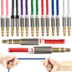 1m Braided 3.5mm AUX Cable Mini Jack to Jack Male Audio Auxiliary Lead 7 Colours