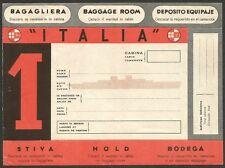 ITALIAN LINE vintage Luggage Label Ӝ