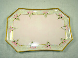 Vintage Hand Painted 8 Sided Limoges Porcelain Vanity Tray - Signed