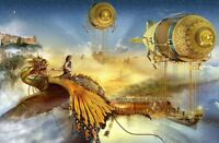 Home Art Wall Decor Airships Castle Dragon Oil Painting Printed On Canvas