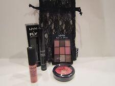 New! NYX 9 Shade Eye Palette, Full Sz Powder, Lip Cream & Mascara in Lace Bag!