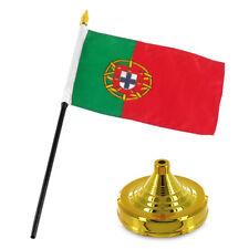 """Portugal 4""""x6"""" Flag Desk Set Table Stick Gold Base"""