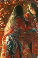 Oil painting joseph rodefer de camp - George Tsui Looking in the Mirror canvas