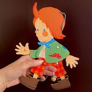 HAMPELMANN 1970er Grossmann: Moritz ohne Max 25cm Vintage Holz Spielzeug Deutsch