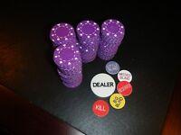 200 PURPLE 11.5 gram Suited Poker Chips + Dealer Button Set