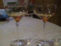 2 Vintage Amber & Clear Glass Wine Goblets 8 oz