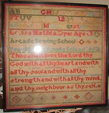 Antique 1853 School Girl Cross Stitch Sampler Rhode Island Provenance Rare