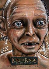 💍 Lord Of The Rings Masterpieces Gollum Sketch Card Topps Art Movie Drawing 💍