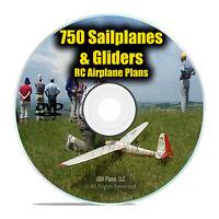 750 Sailplanes Gliders, Remote Control RC Radio Model Aircraft Plans PDF DVD I22