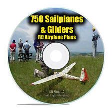 750 Sailplanes Gliders, Remote Control RC Radio Model Aircraft Plans PDF DVD I22
