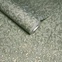 embossed wallpaper textured victorian modern damask green metallic gold rolls 3D