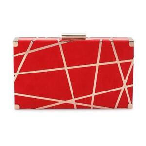 Olga Berg Kenzie Metal Striped Red Clutch