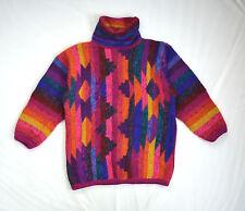 Vtg South Western Wool Cosby Rainbow Knit MARIEA KIM Slouch Cowl Neck Sweater L
