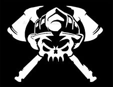 Firefighter Skull Helmet Axe Vinyl Decal Sticker Car Truck Window