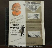 Moultray's Four Winds Restaurant Menu 50's 60's Menu Seattle WA old freight ship