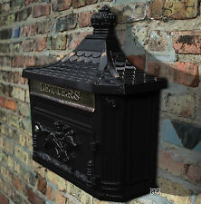 Large Traditional Victorian Style Black Cast Wall Post-Mail-Letter Box Lockable