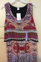 New Women's Dress Red Paisley Empire Long Sleeveless $68 XXL/2X/1X Flattering