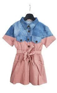 Kids Girls Collared Denim Look Outfit Playsuits Jumpsuits Romper Summer Shirt UK