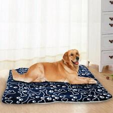 Winter Large Dog Bed Mat Pet Puppy Cat Cushion Blanket Warm Fleece Bed Paw Print