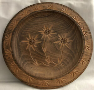 Carved Wooden Decorative Plate Oberammergau