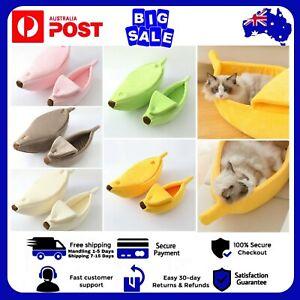 Pet Dog Cat Soft Plush Banana Nest Comfy Sleeping Kennel Cave Calming Warm Bed