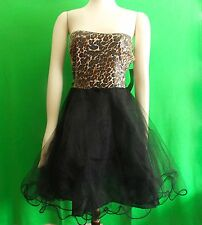 NWT Reign On  fashion junior's miss' leopard and black mesh dress  size 13/14