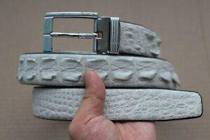 White Genuine Alligator ,Crocodile Hornback Leather Skin Men's Belt
