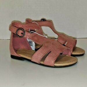 New Toddler Girls Old Navy Pink T-Strap Faux Suede Sandals 5 6