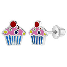 Girls Cupcake Colorful Ear Studs 925 Sterling Silver