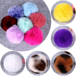 3Pcs Fluffy Faux Fur Ball DIY Accessories 8cm Hat Bag Poms Pom  Keychain Pendent