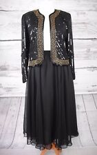 GINA BACCONI BLACK SKIRT & SEQUIN JACKET - UK SIZE 16