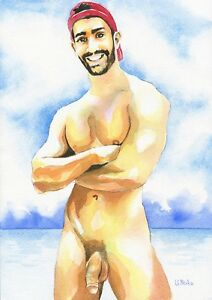 "PRINT of Original Art Work Watercolor Painting Gay Male Nude ""Naughty"""
