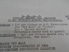 1955 Vintage Sports Car Club Limited Exchange Circular Cars For Sale Ephemera
