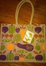 Trader Joe's 100% Jute Eco Friendly Shopping Bag W/ Veggie Pattern 9 Gallon Cap.