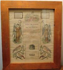 Framed, Hand-Colored Pennsylvania German 1831 Birth & Baptism Certificate